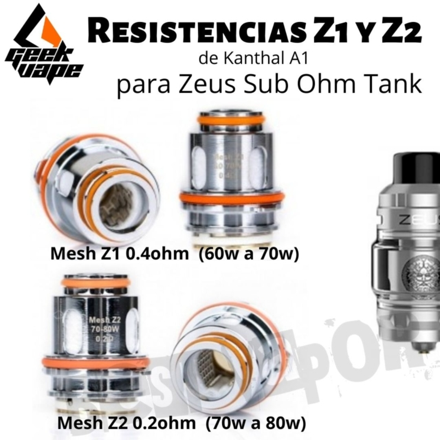 Resistencias Z1 y Z2 Zeus Sub Ohm Tank - GeekVape en Best Vapor