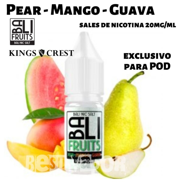 Pear - Mango - Guava Salts Sales de Nicotina de Bali Fruits - Kings Crest en Best Vapor