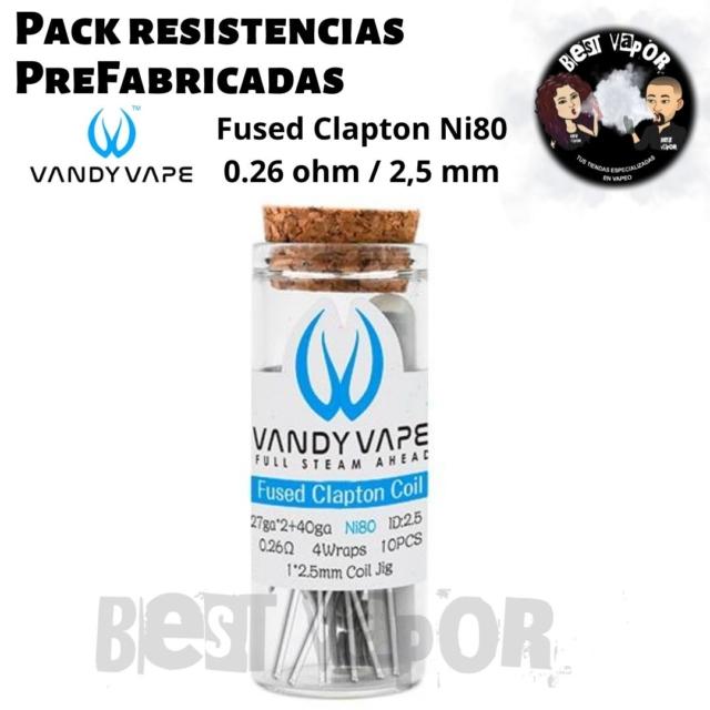 Pack resistencias PreFabricadas 0,26 ohm 2,5 mm de Vandy Vape en Best Vapor