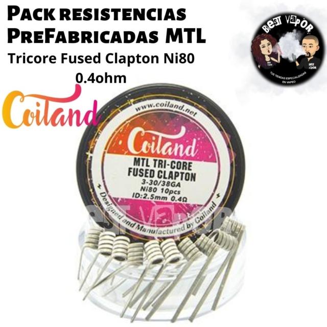 Resistencias Prefabricadas MTL Tricore Fused Clapton Ni80 0.4ohm de Coiland en Best Vapor