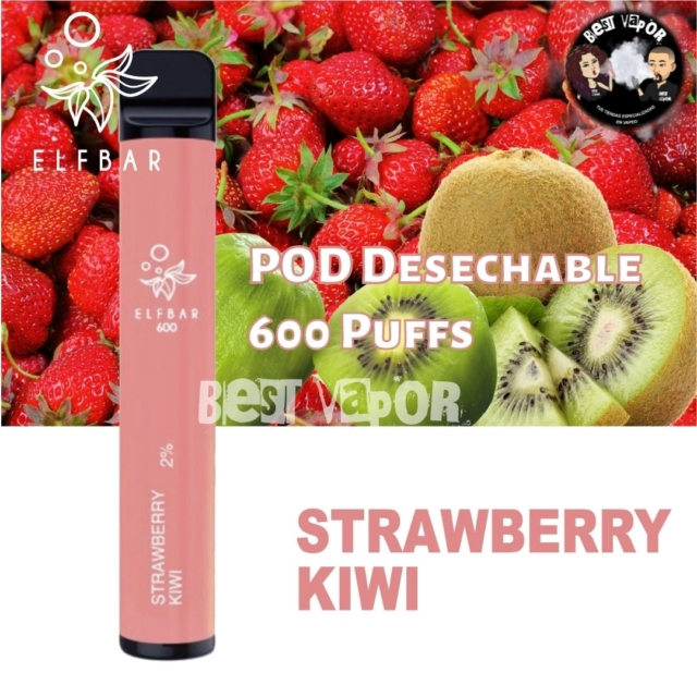 POD Desechable 600 inhalaciones -Fresa con Kiwi- en Best Vapor